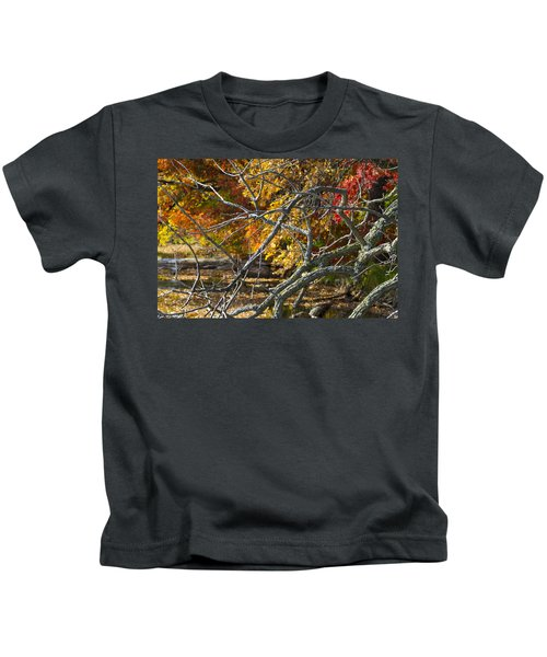 Highly Textured Branches Against Autumn Trees Kids T-Shirt