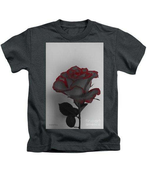 Hints Of Red- Single Rose Kids T-Shirt