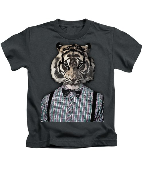 Hipster Tiger  Plaid Shirt Vintage Dictionary Art Beatnik Art Kids T-Shirt
