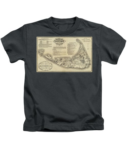 Historical Map Of Nantucket From 1602-1886 Kids T-Shirt