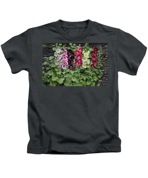 Hollyhock Alcea Rosea Flowers Kids T-Shirt