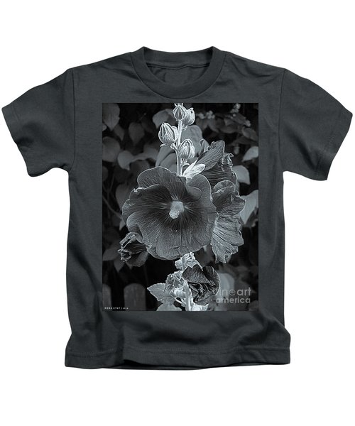 Hollyhock Splendor Bw Kids T-Shirt