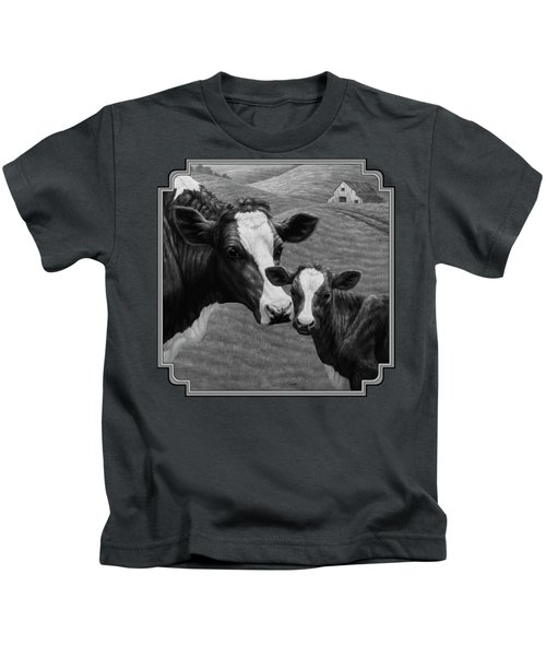 Holstein Cow Farm Black And White Kids T-Shirt by Crista Forest