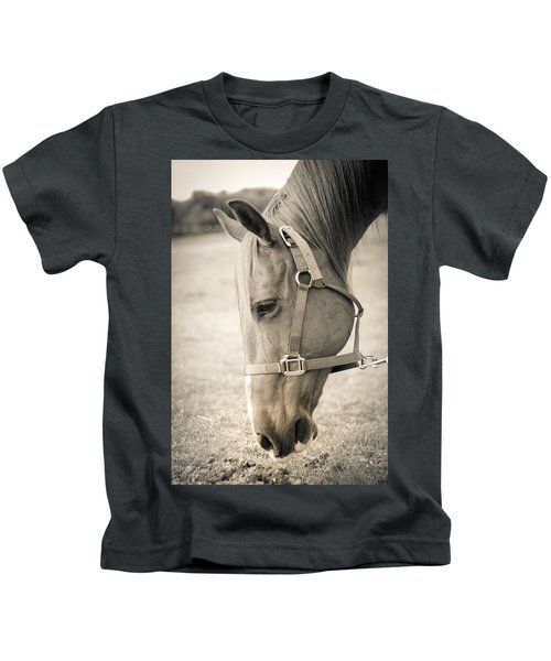 Horse Eating In A Pasture Kids T-Shirt
