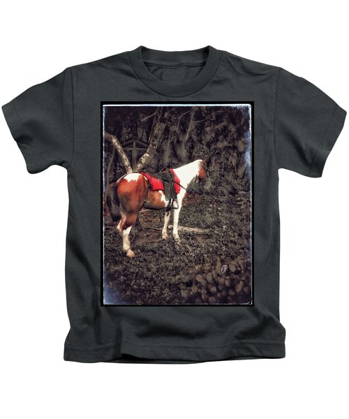 Horse In Red Kids T-Shirt