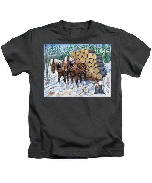 Horse Log Team Kids T-Shirt