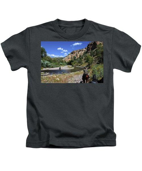 Horseback In The Gila Wilderness Kids T-Shirt