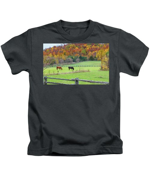Horses Contentedly Grazing In Fall Pasture Kids T-Shirt