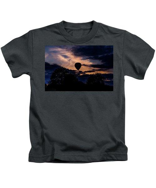 Hot Air Balloon Silhouette At Dusk Kids T-Shirt