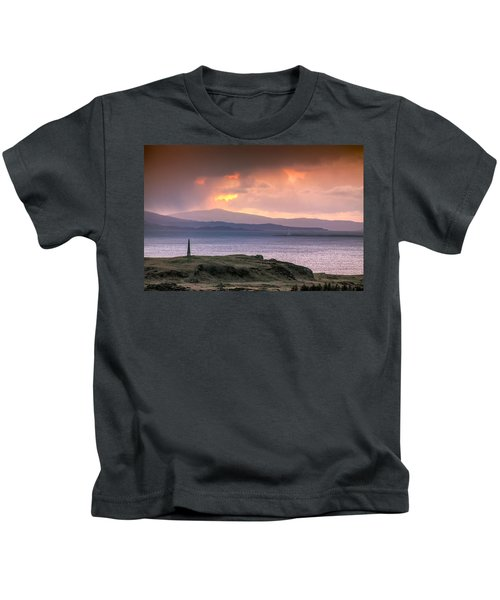 Hutcheson's Monument On The Isle Of Kerrera At Sunset Kids T-Shirt