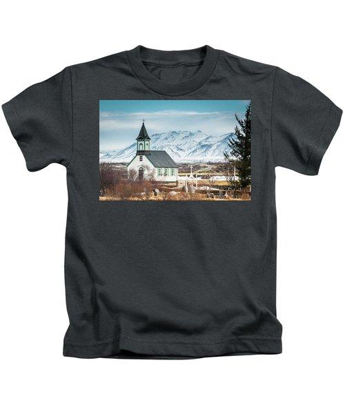 Icelandic Church, Thingvellir Kids T-Shirt