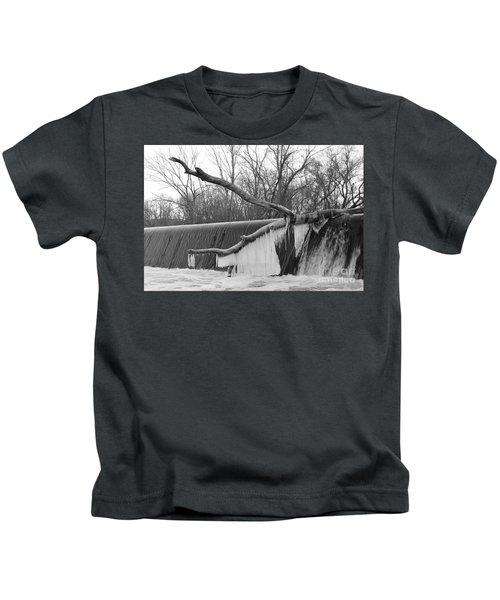 Icicle Laden Branch Over The Waterfall Kids T-Shirt