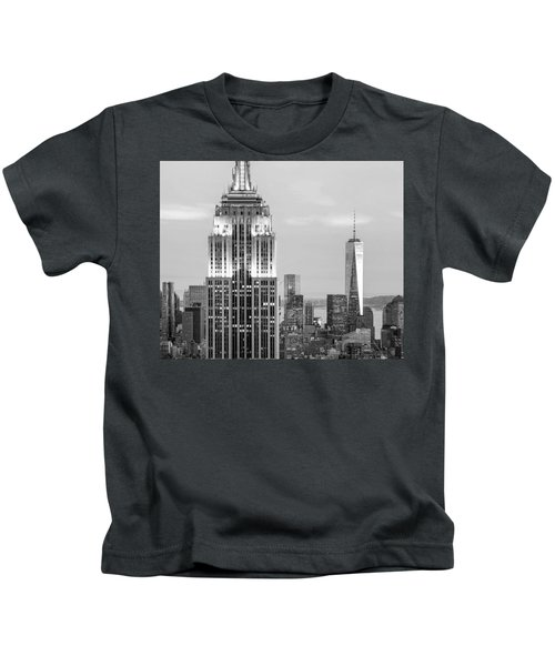 Iconic Skyscrapers Kids T-Shirt by Az Jackson