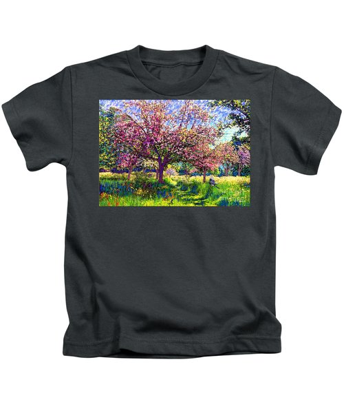 In Love With Spring, Blossom Trees Kids T-Shirt by Jane Small