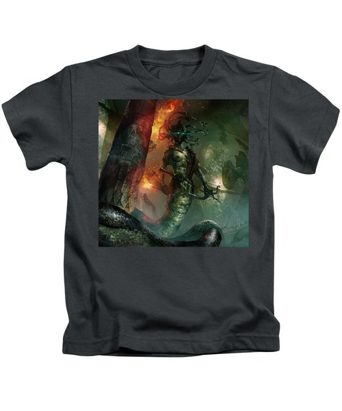 In The Lair Of The Gorgon Kids T-Shirt by Ryan Barger