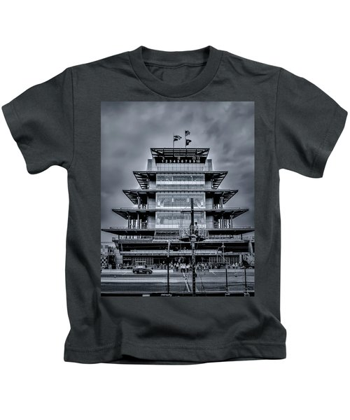 Indy 500 Pagoda - Black And White Kids T-Shirt