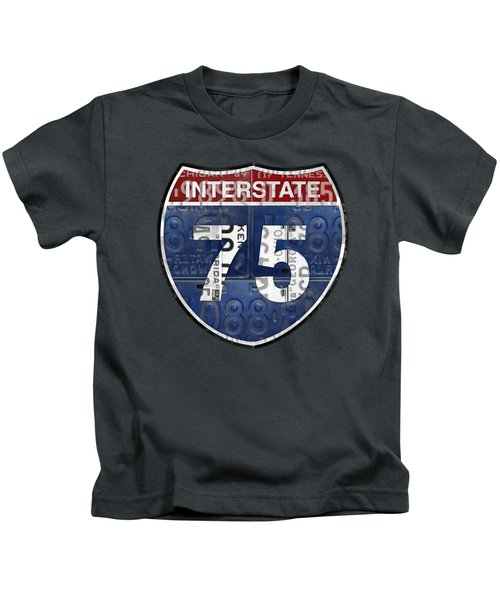 Interstate 75 Highway Sign Recycled Vintage License Plate Art On Striped Concrete Kids T-Shirt