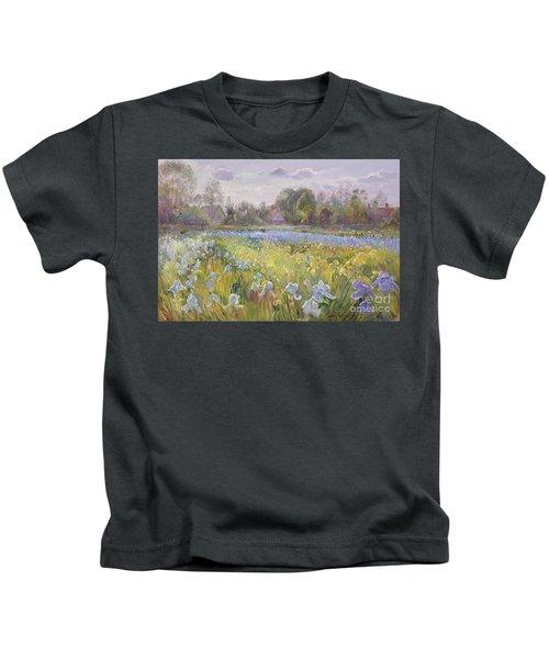 Iris Field In The Evening Light Kids T-Shirt