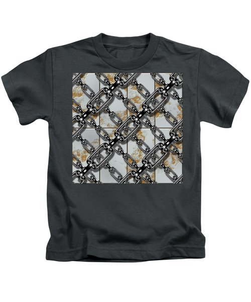 Iron Chains With Rusty Metal Panels Seamless Texture Kids T-Shirt