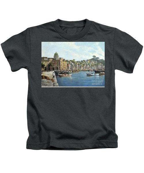 Island Of Procida - Italy- Harbor With Boats Kids T-Shirt