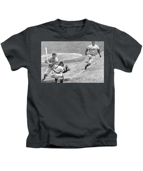 Jackie Robinson Stealing Home Yogi Berra Catcher In 1st Game 1955 World Series Kids T-Shirt