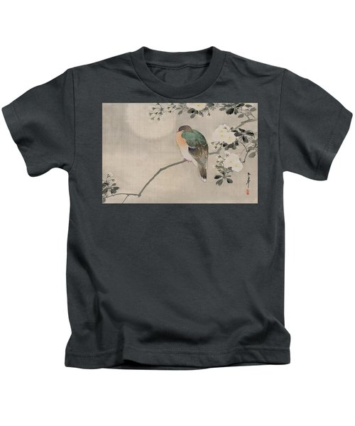 Japanese Silk Painting Of A Wood Pigeon Kids T-Shirt by Japanese School