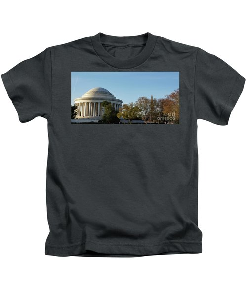 Jefferson Memorial Kids T-Shirt by Megan Cohen