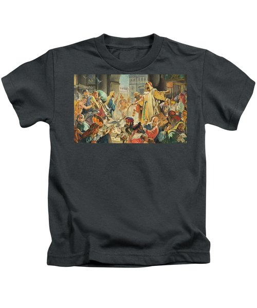 Jesus Removing The Money Lenders From The Temple Kids T-Shirt
