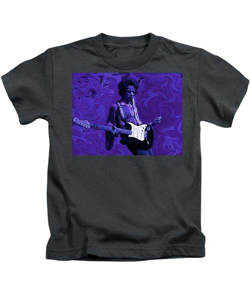 Jimi Hendrix Purple Haze Kids T-Shirt by David Dehner