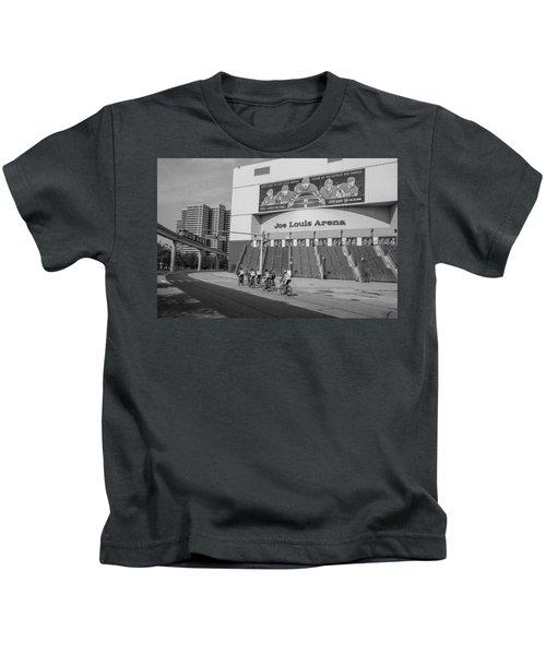Joe Louis Arena Black And White With Bikers Kids T-Shirt