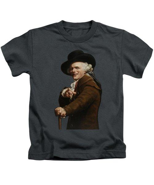 Joseph Ducreux - Guise Of A Mocker Painting  Kids T-Shirt