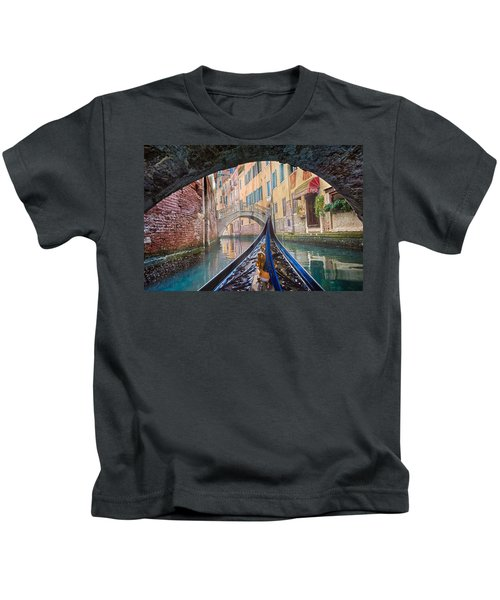 Journey Through Dreams - A Ride On The Canals Of Venice, Italy Kids T-Shirt