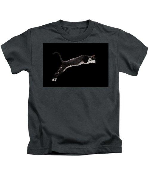 Jumping Cornish Rex Cat Isolated On Black Kids T-Shirt