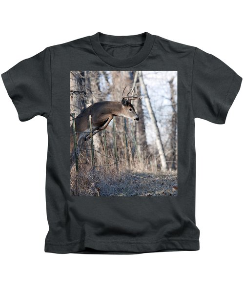 Jumping White-tail Buck Kids T-Shirt