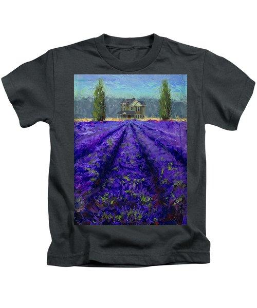 Just Beyond - Plein Air Lavender Landscape Impressionistic Painting Kids T-Shirt