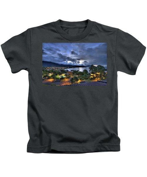 Kaneohe Bay Night Hdr Kids T-Shirt