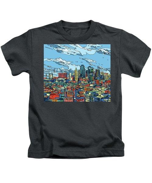 Kansas City Skyline Panorama Kids T-Shirt