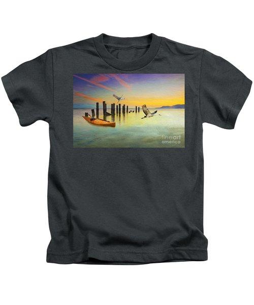 Kayak And Cranes Kids T-Shirt
