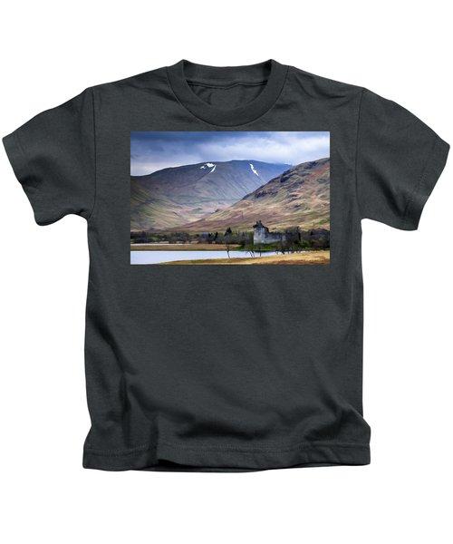 Kilchurn Castle On Loch Awe In Scotland Kids T-Shirt