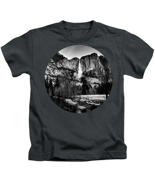 King Of Waterfalls, Black And White Kids T-Shirt