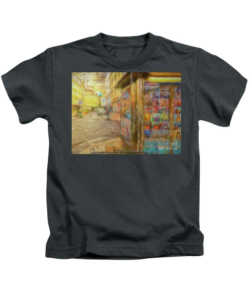 Kiosk - Prague Street Scene Kids T-Shirt