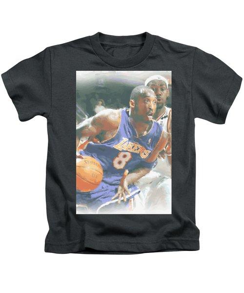 Kobe Bryant Lebron James Kids T-Shirt by Joe Hamilton