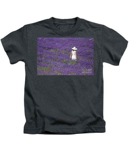 Lady In Lavender Field Kids T-Shirt
