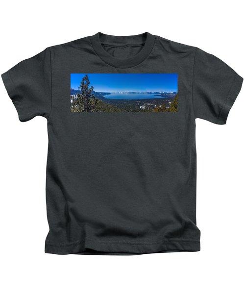 Lake Tahoe Spring Overlook Panoramic Kids T-Shirt