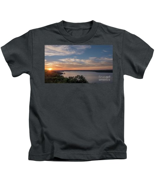 Lake Travis During Sunset With Clouds In The Sky Kids T-Shirt