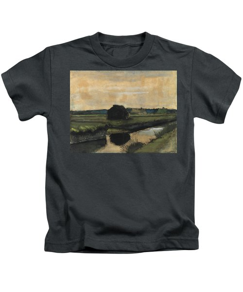 Landscape With A Stack Of Peat And Farmhouses, 1883 Kids T-Shirt