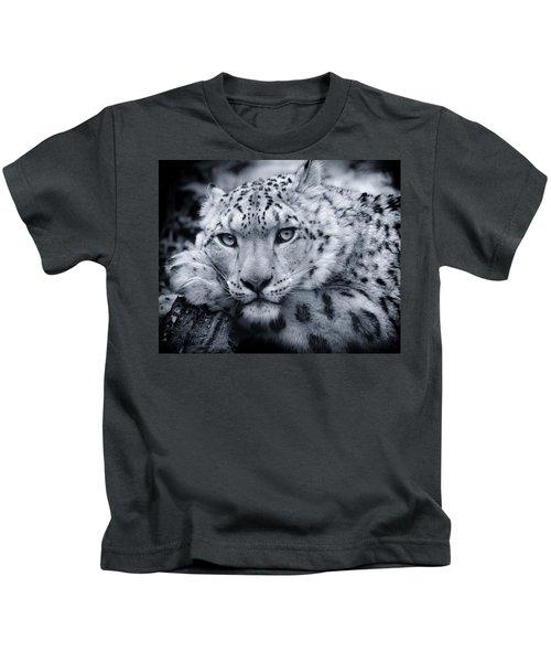 Large Snow Leopard Portrait Kids T-Shirt