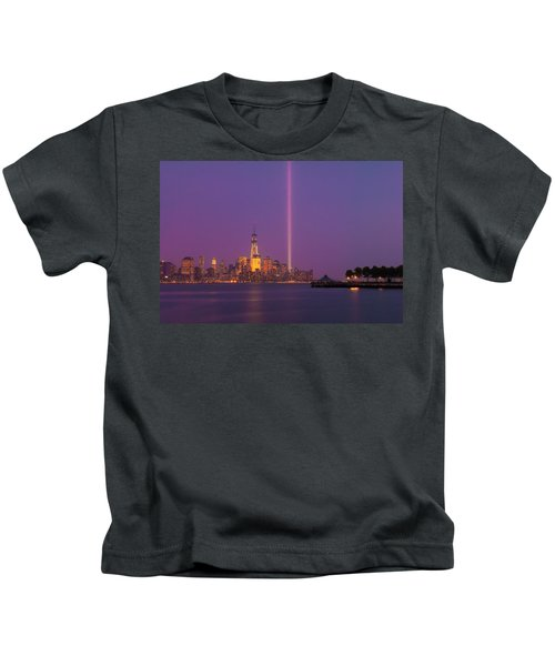 Laser Twin Towers In New York City Kids T-Shirt