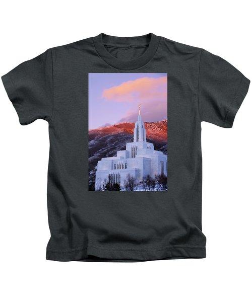Last Light At Draper Temple Kids T-Shirt