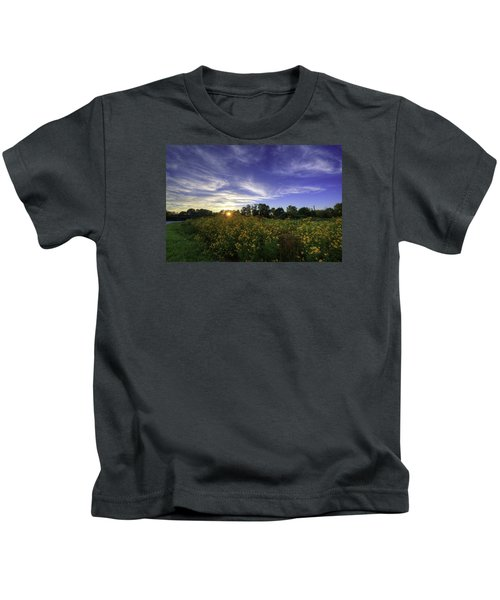 Last Rays Over The Flowers Kids T-Shirt